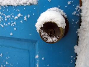 winter doorknob