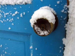 winter doorknob